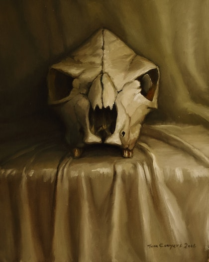White On White (Cow skull on White Sheet)