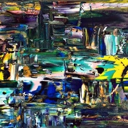 Darkened city scape estelle asmodelle bluethumb art