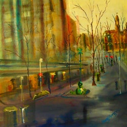A wet day in melbourne swanston street margaret morgan watkins bluethumb art