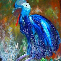 Mega fauna the giant cassowary margaret morgan watkins bluethumb art