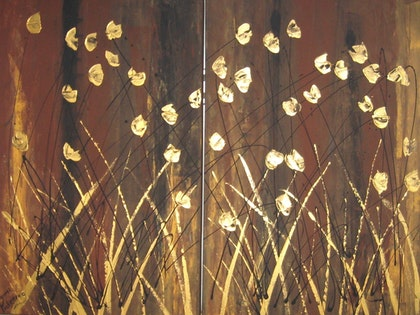 Art  gold poppies on brown  gold grass decor, black and amber