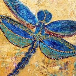 Dragonfly in the grass corinne young bluethumb art