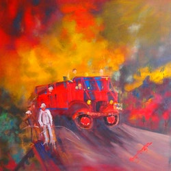 Vintage fire truck margaret morgan watkins bluethumb art