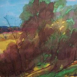 Merged colours trees on silk and framed margaret morgan watkins bluethumb art