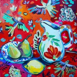 Still life with pears katerina apale bluethumb art