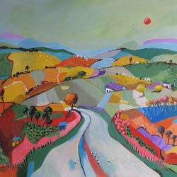 Commissioned artwork country road with red moon 2 susan trudinger bluethumb art