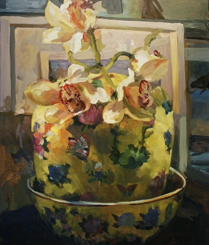 Orchids in Chinese vase