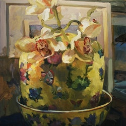 Orchids in chinese vase ray saunderson bluethumb art
