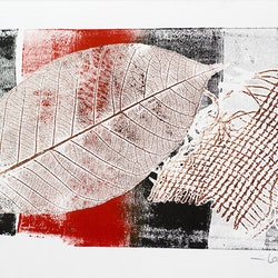 Monoprint with leaf and mesh louise grove wiechers bluethumb art