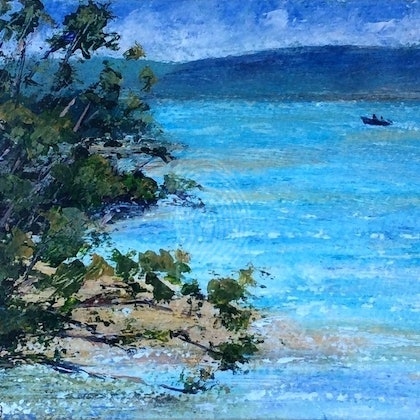 Lake illawarra sparkling Plein air