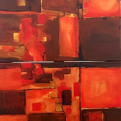 Abstracted landscape red earth louise grove wiechers bluethumb art