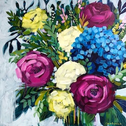 Hydrangea and roses clair bremner bluethumb art
