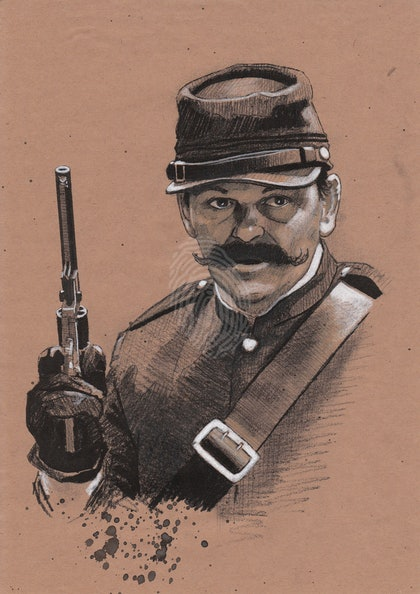 """""""SGT. CONDELL"""" Gregory Quinn - (final draft) character illustration for """"The Legend of Ben Hall"""" film credits"""