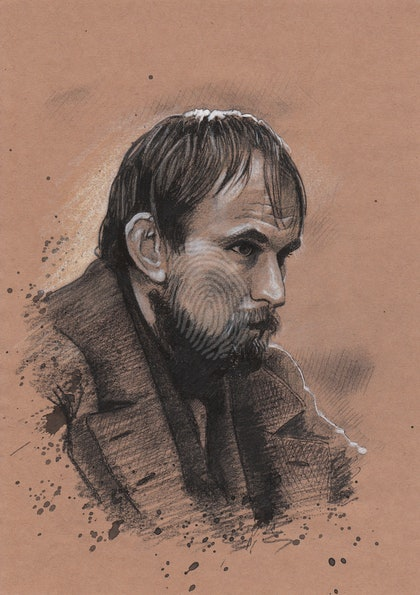 """""""JIM TAYLOR"""" Nick Barry - (final draft) character illustration for """"The Legend of Ben Hall"""" film credits"""