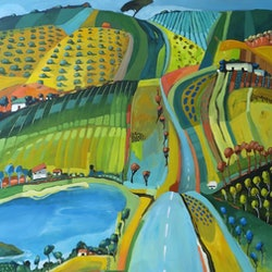 Commissioned artwork country road by water susan trudinger bluethumb art