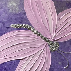 Original abstract art painting on stretched canvas textured butterfly purple pink silver debra ryan bluethumb art