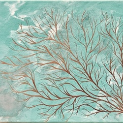 Original abstract art painting on stretched canvas coral dream sea green white silver copper debra ryan bluethumb art