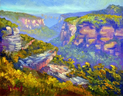 Oil on canvas - Butterbox lookout Blue Mountains