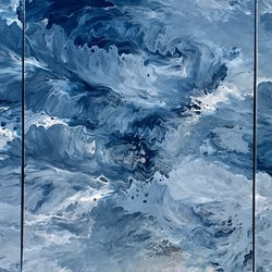 Original abstract art painting on stretched canvas crest of a wave triptych blue white silver debra ryan bluethumb art