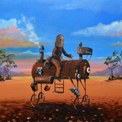 Ned kelly on steam horse max horst sokolowski bluethumb art