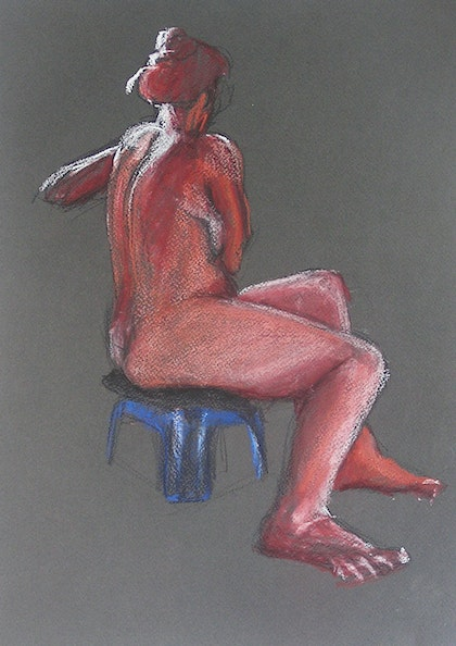 Life Drawing - Sitting Lady - Red-Brown