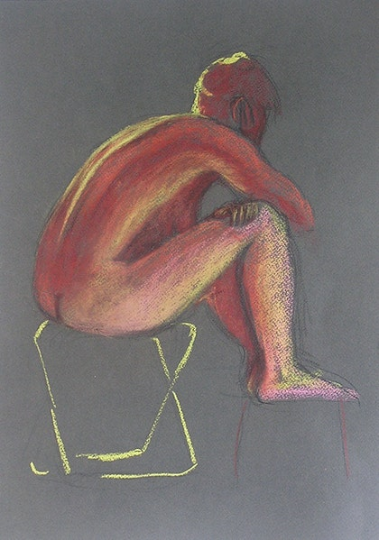 Life Drawing - Sitting Lady on a Yellow Stool