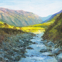 Into a sunlit valley south island new zealand dai wynn bluethumb art