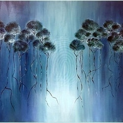 Glowing trees kat las bluethumb art