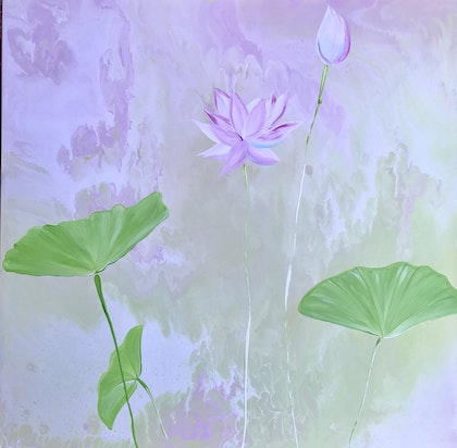 """ORIGINAL ABSTRACT ART PAINTING ON STRETCHED CANVAS  """"SOFTLY LOTUS""""  BLUE WHITE PINK LIME GREEN"""
