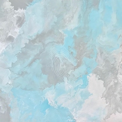 """ORIGINAL ABSTRACT ART PAINTING ON STRETCHED CANVAS  """"PASTEL MAGIC""""  SOFT PINK LIGHT TURQUOISE GREY AND WHITE"""