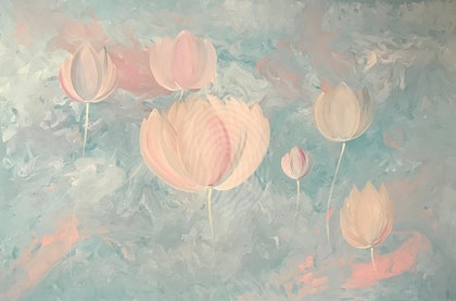 "ORIGINAL ABSTRACT ART PAINTING ON STRETCHED CANVAS  ""SURREAL LOTUS FLOWERS""  BLUE WHITE PINK GREY"