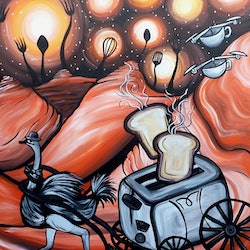No time for breakfast the drones are here lisa fahey bluethumb art 8864