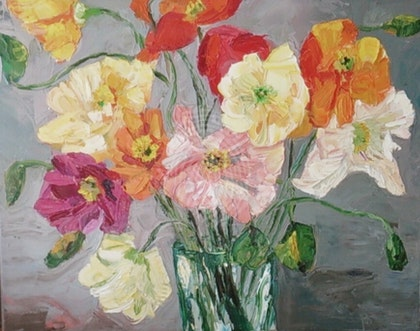 Poppies In Glass Jar