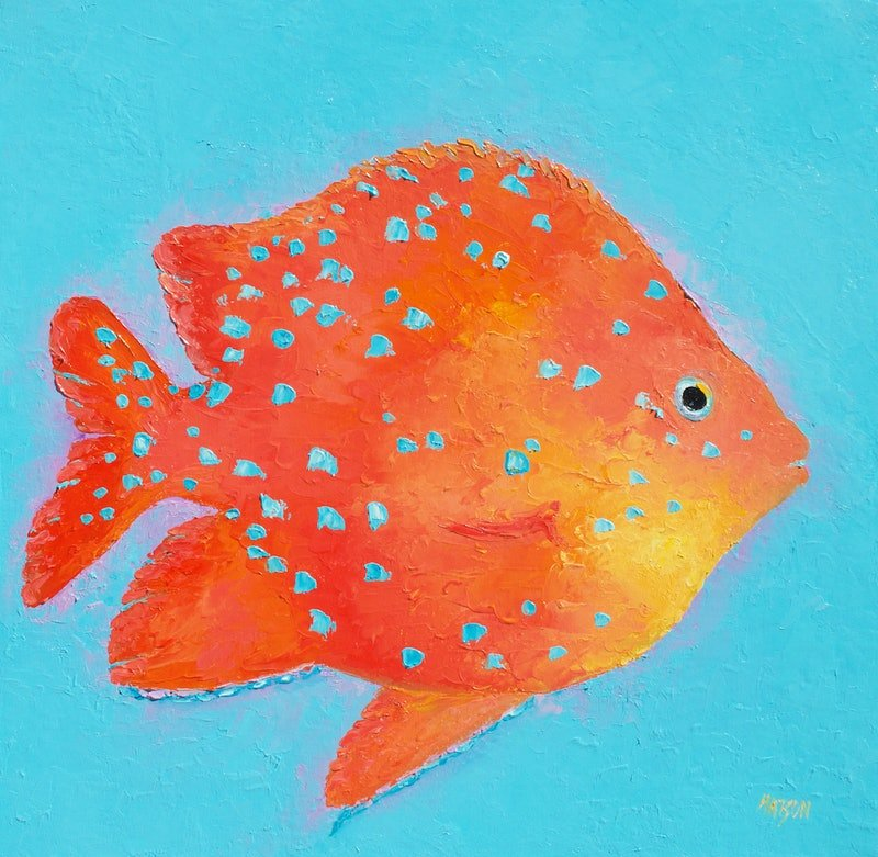 Orange tropical fish by jan matson paintings for sale for Jan s tropical fish