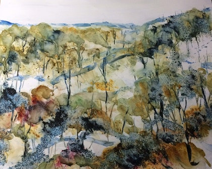 The beauty of winter; visit the snowfields (watercolour on Yupo)