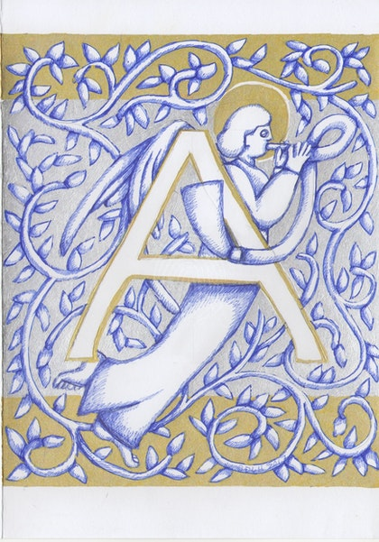 Silver Angel Letter A 2017 original  ink drawing not a print - Copy