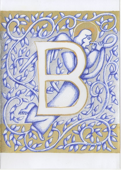 Silver Angel Letter B original drawing not a print