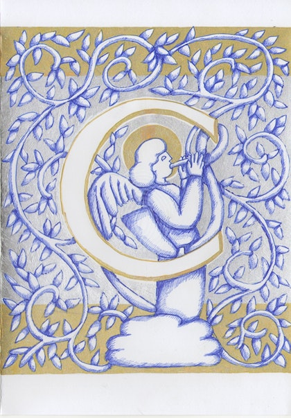 Silver Angel Letter C Original drawing card not a print