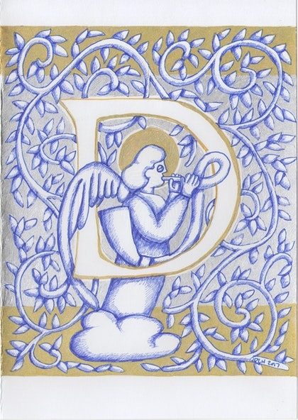 Silver Angel Letter D original drawing not a print