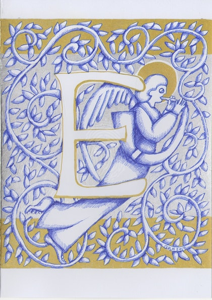 Silver Angel Letter E 2017Original ink drawing card not a print