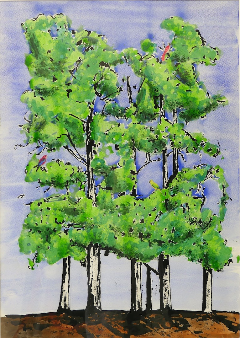 Five Trees with Rosella Shining Fly  Catcher and Elegant Parrot