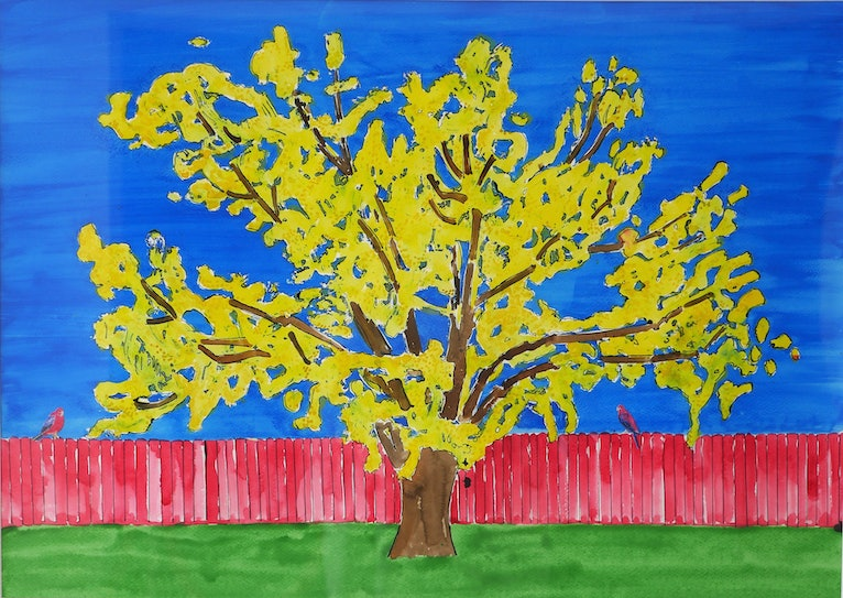 Yellow Tree with Rosellas