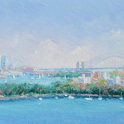 Sydney harbour and the opera house jan matson bluethumb art 7516