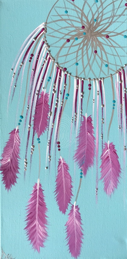"ORIGINAL ABSTRACT ART PAINTING ON STRETCHED CANVAS  ""DREAM ON"" PINK TURQUOISE FUCHSIA SILVER"