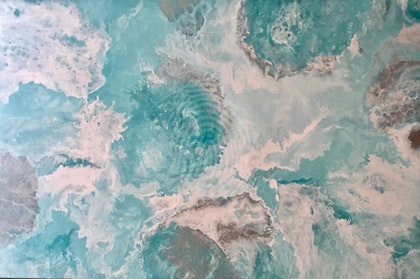 "ORIGINAL ABSTRACT ART PAINTING ON STRETCHED CANVAS  ""EXQUISITE""  TURQUOISE WHITE SILVER"