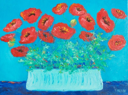 Brilliant Red Poppies in a Blue Vase