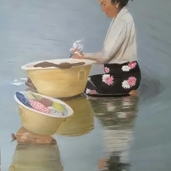 Burmese woman washing clothes in the river heather browne bluethumb art 01e7