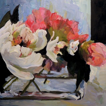 Peonies in Glass Vase ll