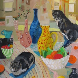 Still life with two cats susan trudinger bluethumb art 3368