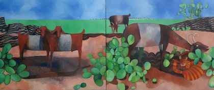 Cat and goats (diptych)